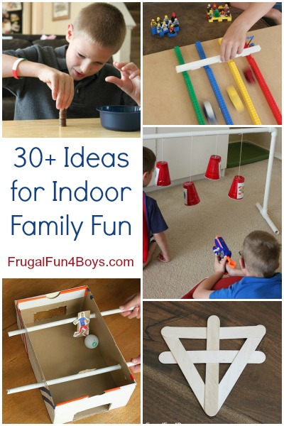 30+ Ideas for Indoor Family Fun.  Games, things to make and do, Lego projects, Nerf ideas. Love this list!