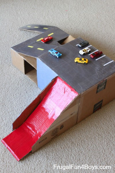 Cardboard box hot wheels car garage with ramps for Cool things to make out of a shoe box