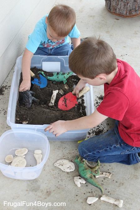 Digging for salt dough dinosaurs