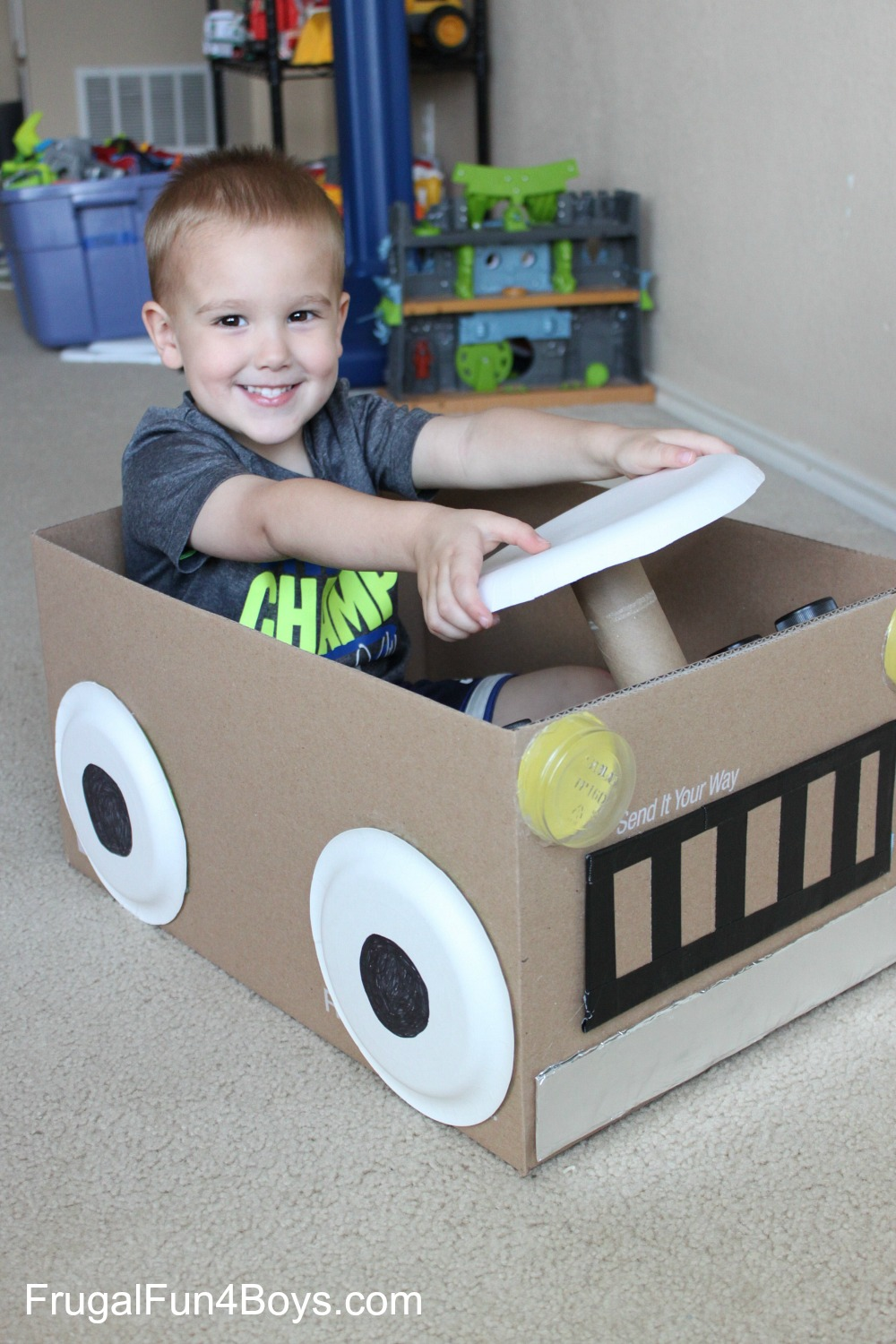 Create a cardboard box car for Cardboard activities for toddlers