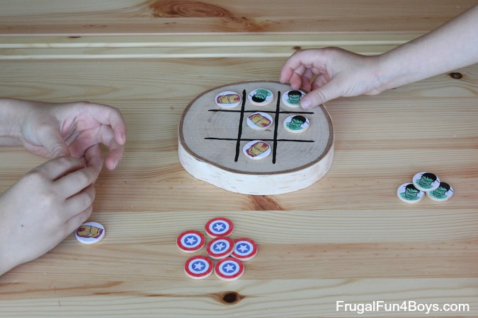 DIY Avengers Wooden Tic Tac Toe Game