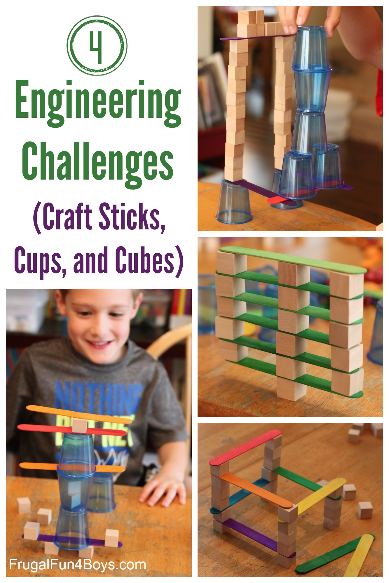 4 Engineering Challenges for Kids Cups Craft Sticks and Cubes