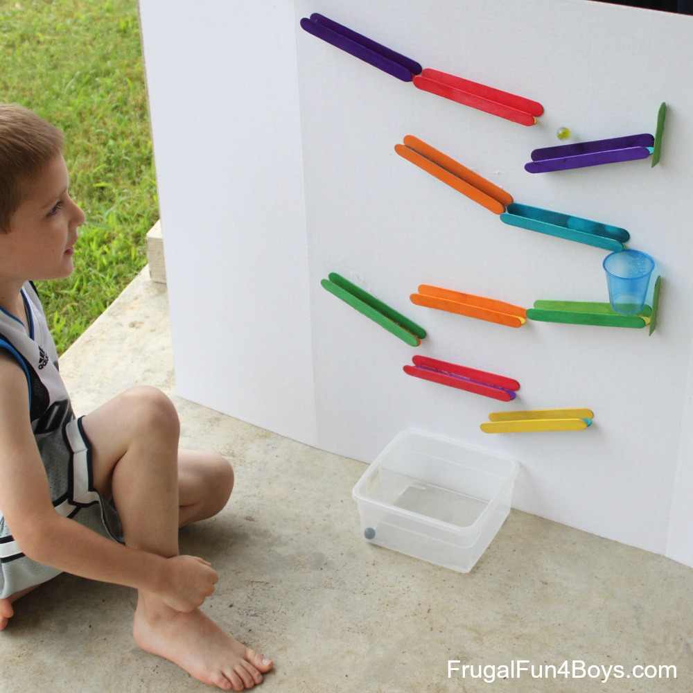 Craft stick marble run for Things to make out of cardboard for kids