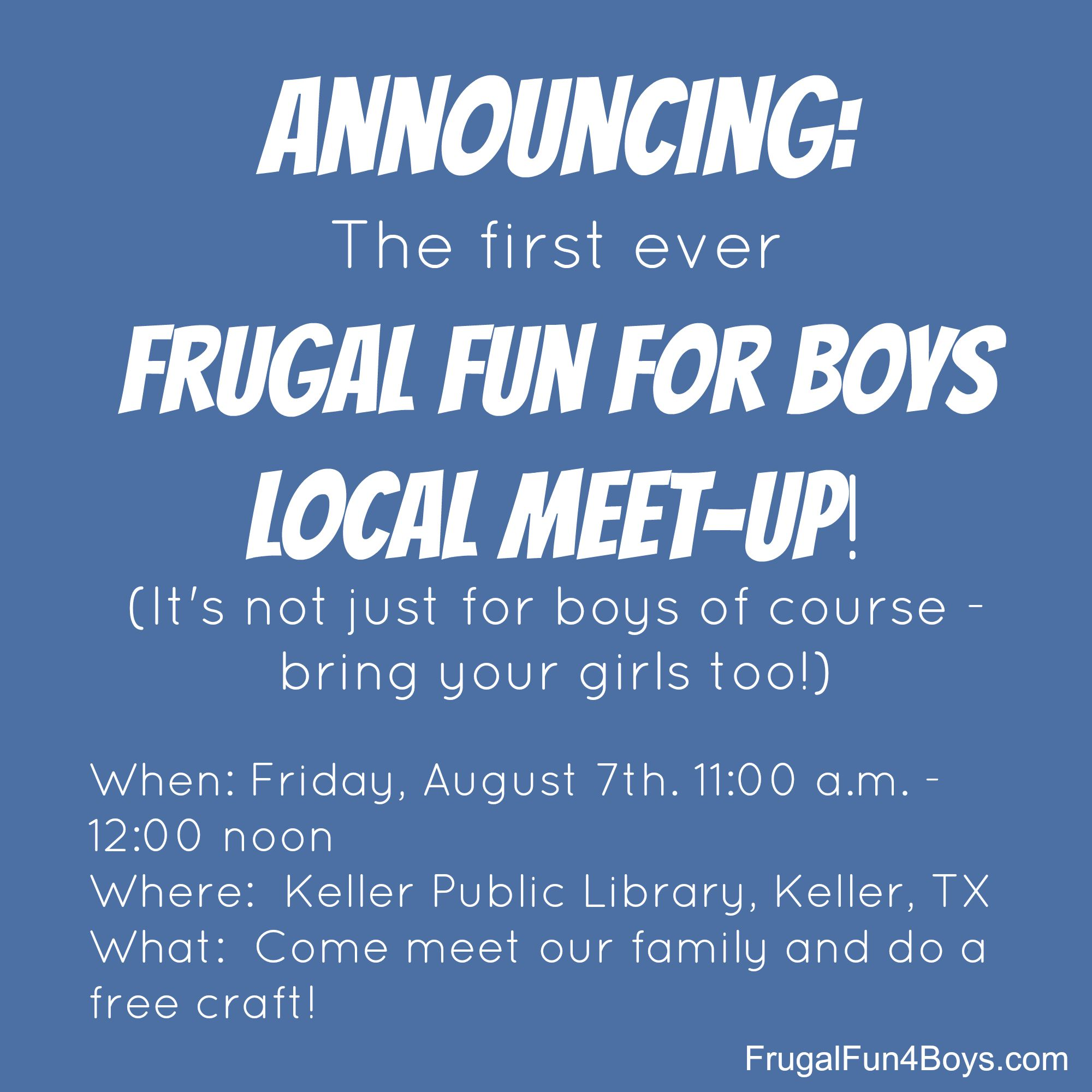 Frugal Fun for Boys - Local Meet-up