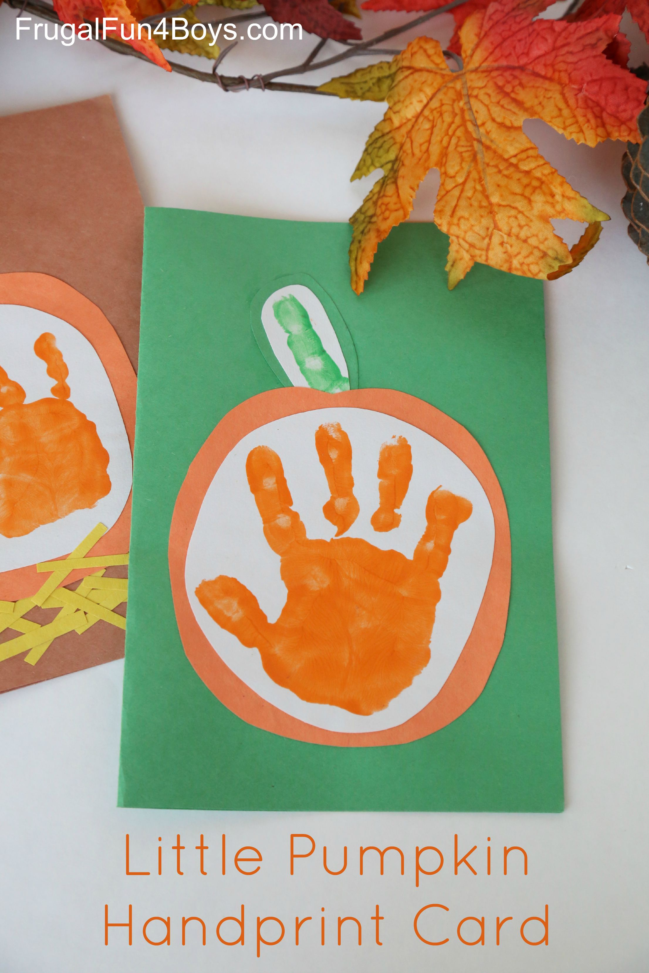 Little Pumpkin Handprint Fall Cards