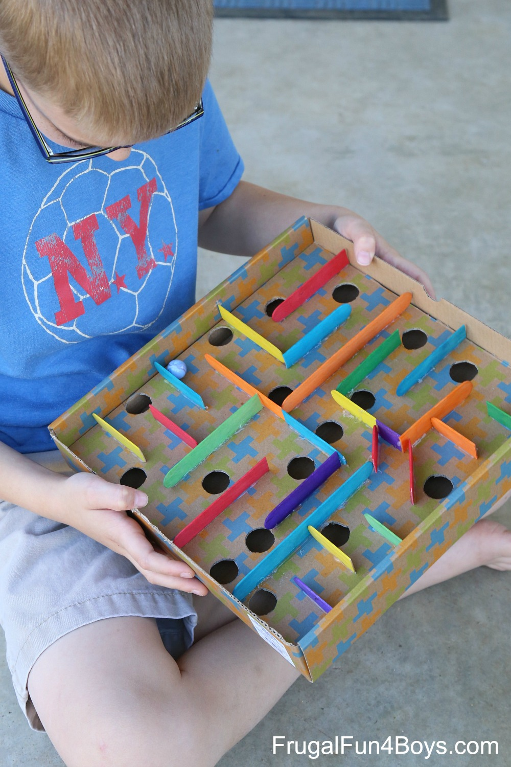 How to make a cardboard box marble labyrinth game for Craft box for toddlers