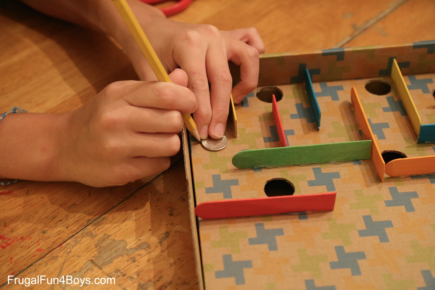 How To Make A Cardboard Box Marble Labyrinth Game Frugal Fun For