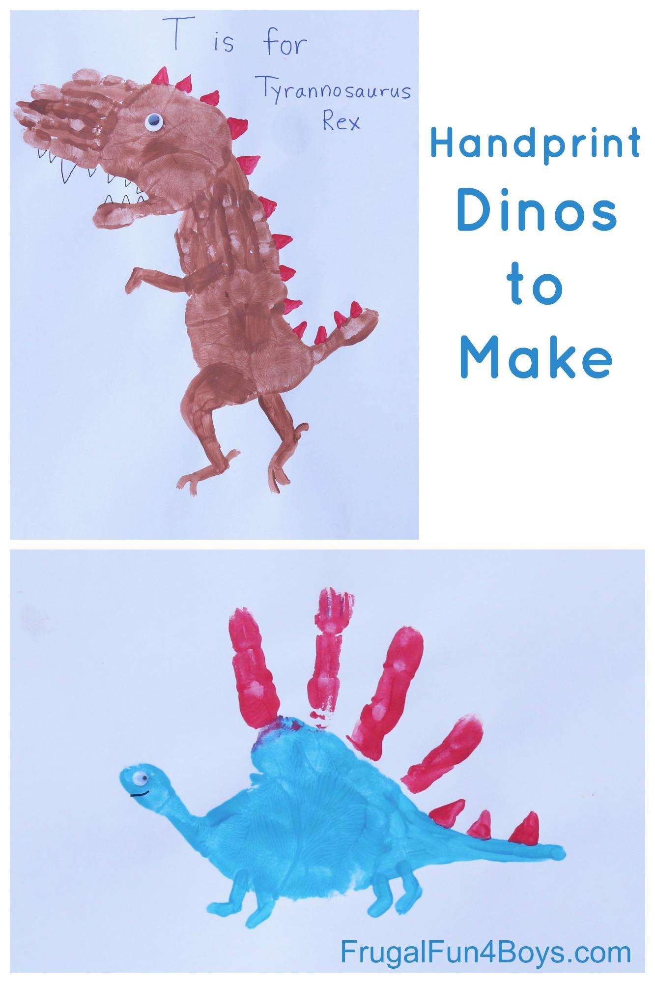 Dinosaur Craft for Kids: Handprint T-Rex, Stegosaurus, and Brachiosaurus