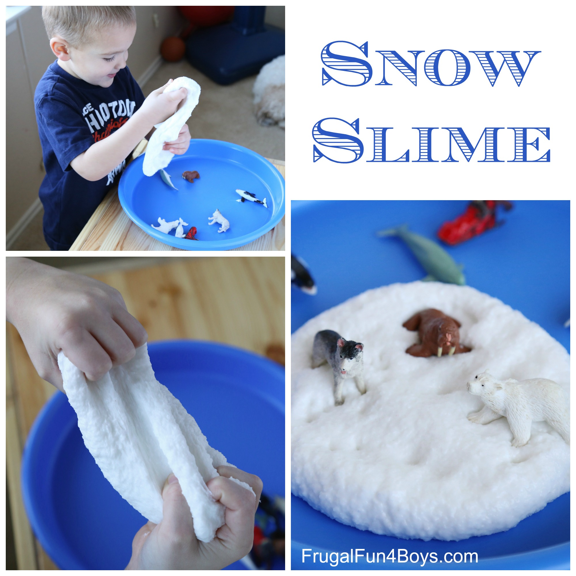 How to make snow slime for How to make winter crafts