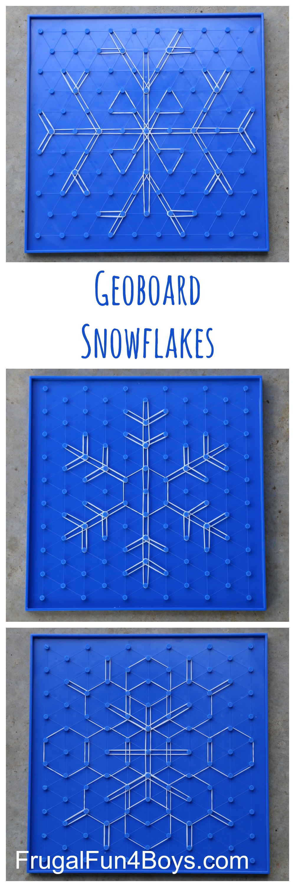 Geoboard Snowflakes - Winter STEM Activity for Kids