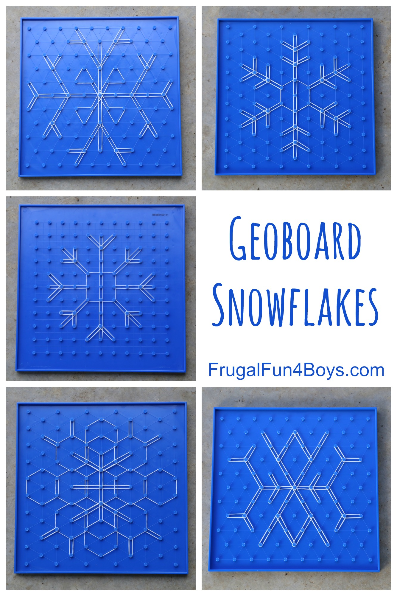 Geoboard Snowflakes - Math and Art Activity for Kids