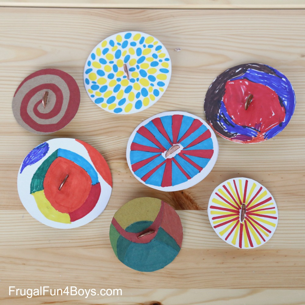 Penny spinners toy tops that kids can make for Art crafts for boys