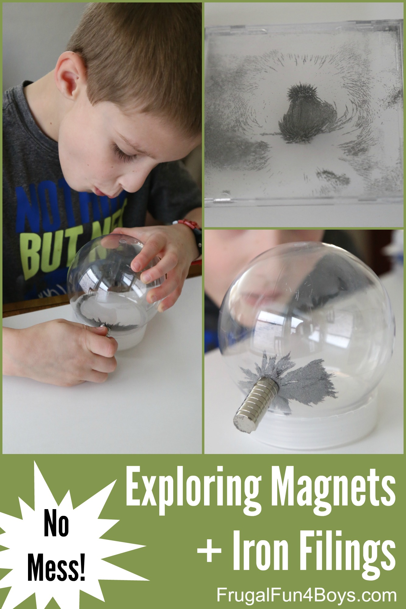 No Mess Science Explorations with Magnets and Iron Filings