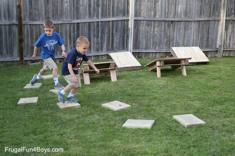 Backyard Ninja Warrior Plans : DIY American Ninja Warrior Backyard Obstacle Course  Frugal Fun For