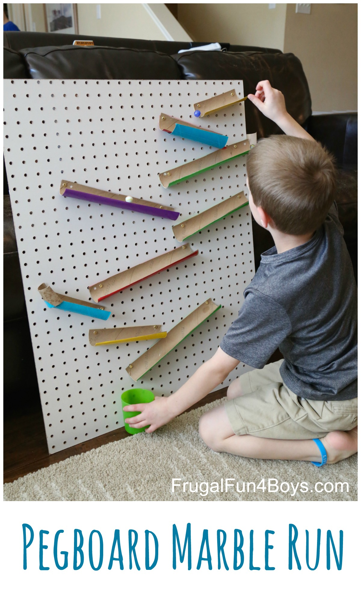 Changeable Pegboard Marble Run