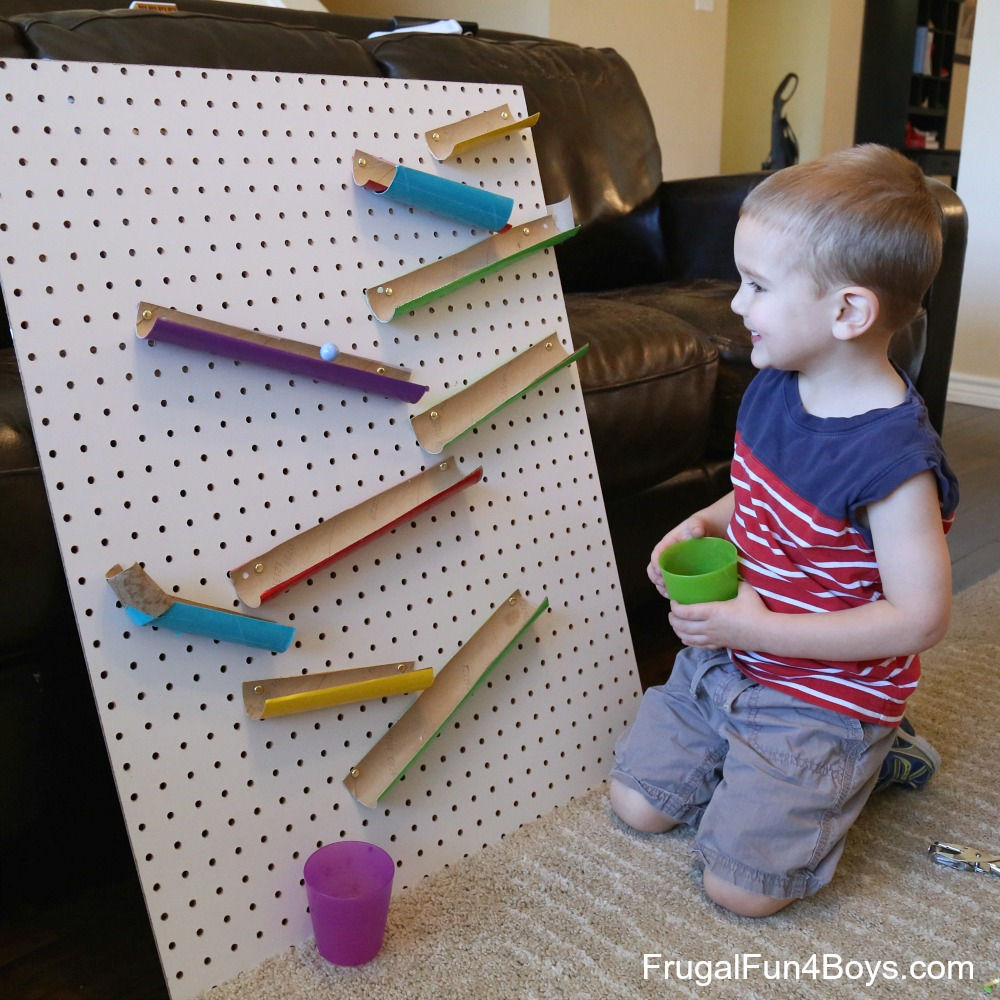Build A Changeable Pegboard Marble Run