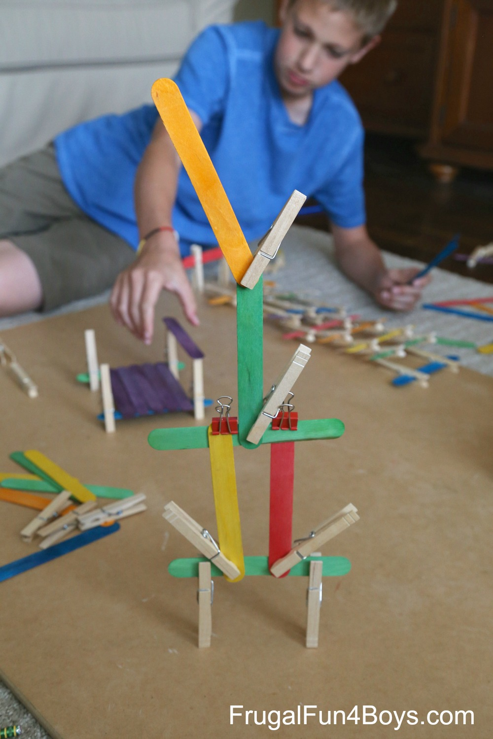 Five Engineering Challenges with Clothespins, Craft Sticks, and Binder Clips