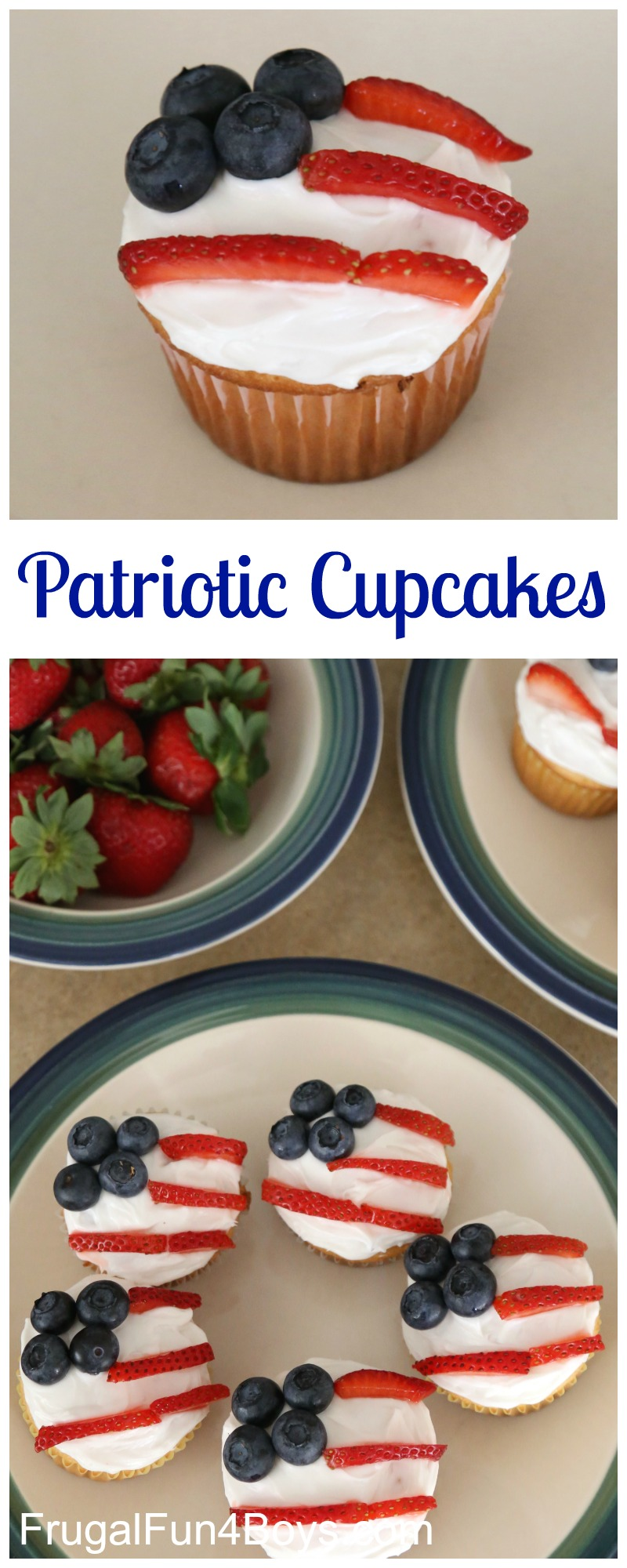 Patriotic Flag Cupcakes for the 4th of July