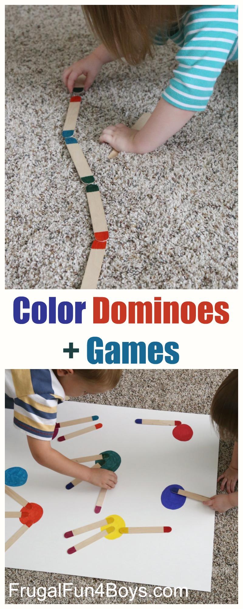 Craft Stick Color Dominos Preschool Games