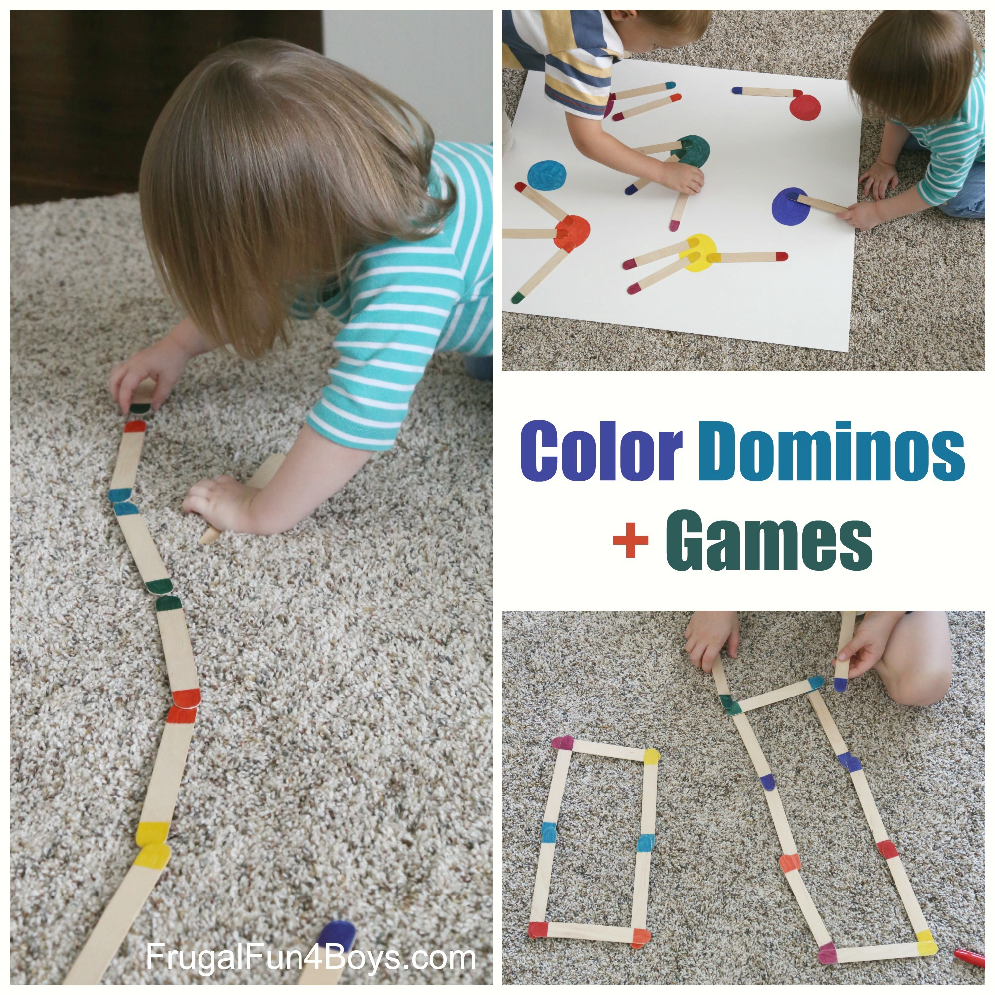Craft Stick Color Dominos Preschool Learning Activity