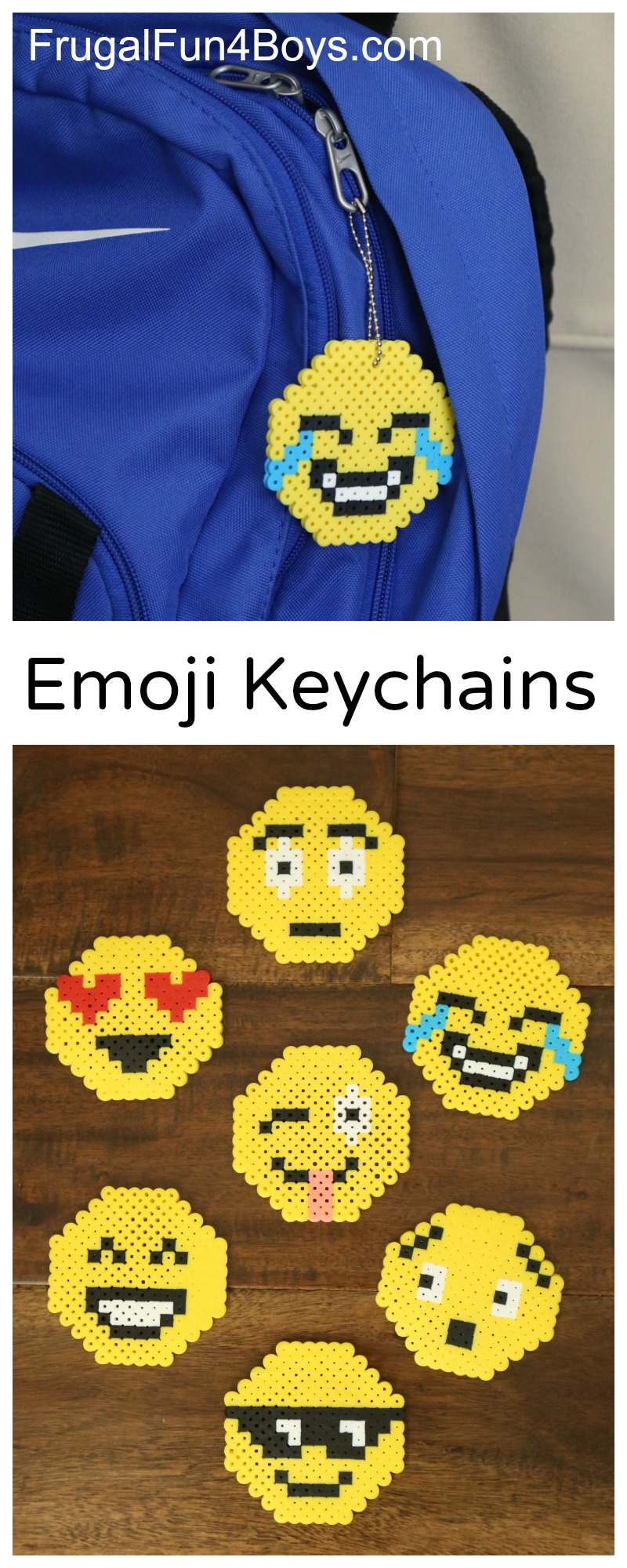 Emoji perler bead keychains frugal fun for boys and girls for Fun crafts for kids of all ages