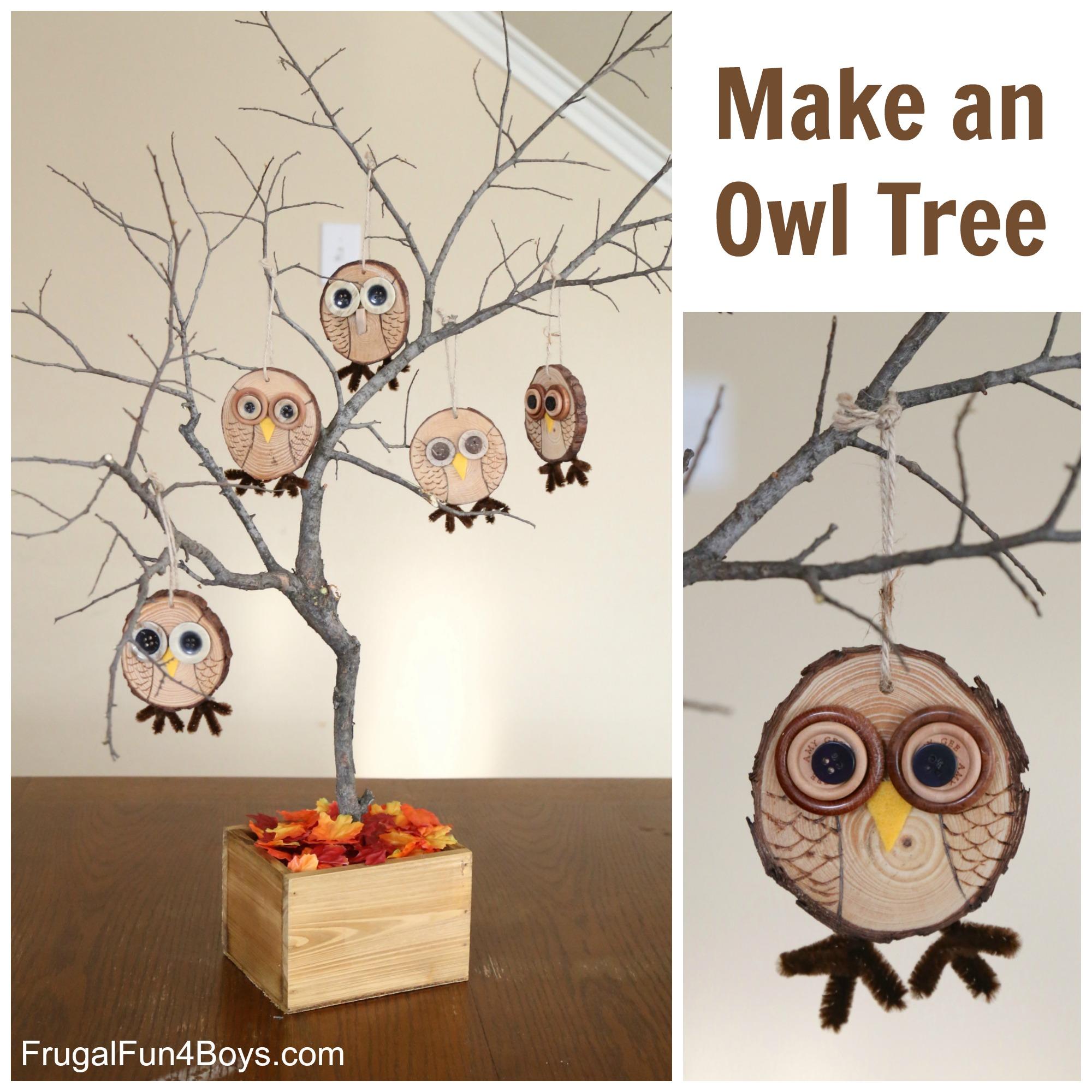 Make an Owl Tree - Wood Slice Owl Ornament Craft