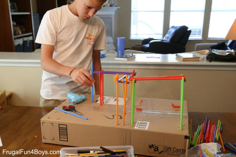 STEM Challenge for Kids: Build a Straw Coaster!