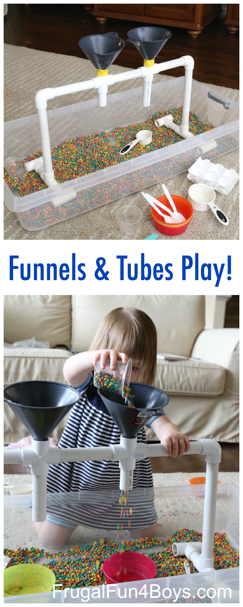 sensory play with funnels  tubes  and colored beans