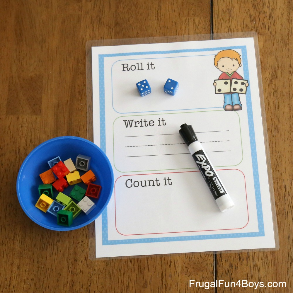 Printable Roll it, Write it, Count it Mats - Counting and Writing Practice