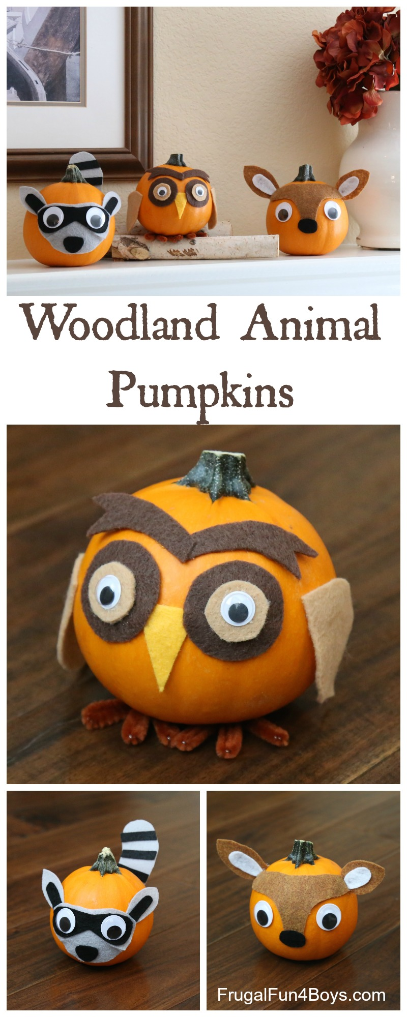 Woodland Animal Decorated Pumpkins