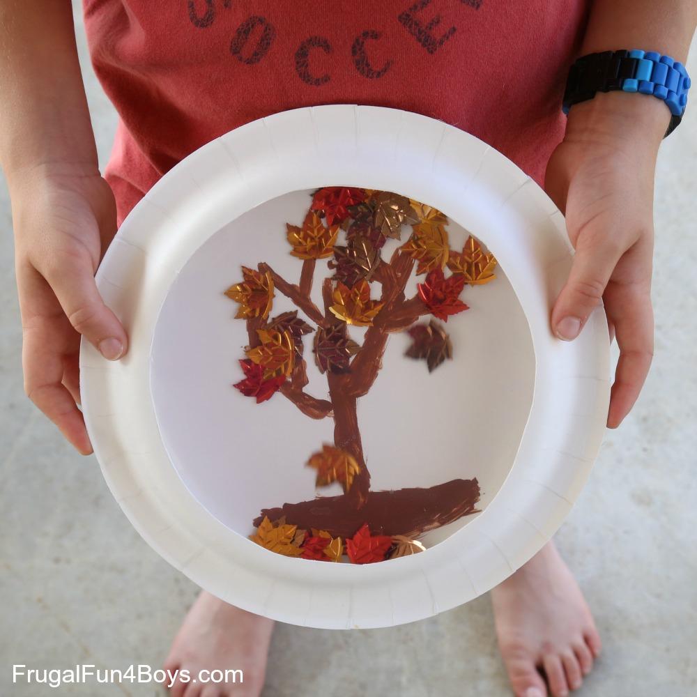 "Paper Plate Fall Tree ""Snow"" Globe"