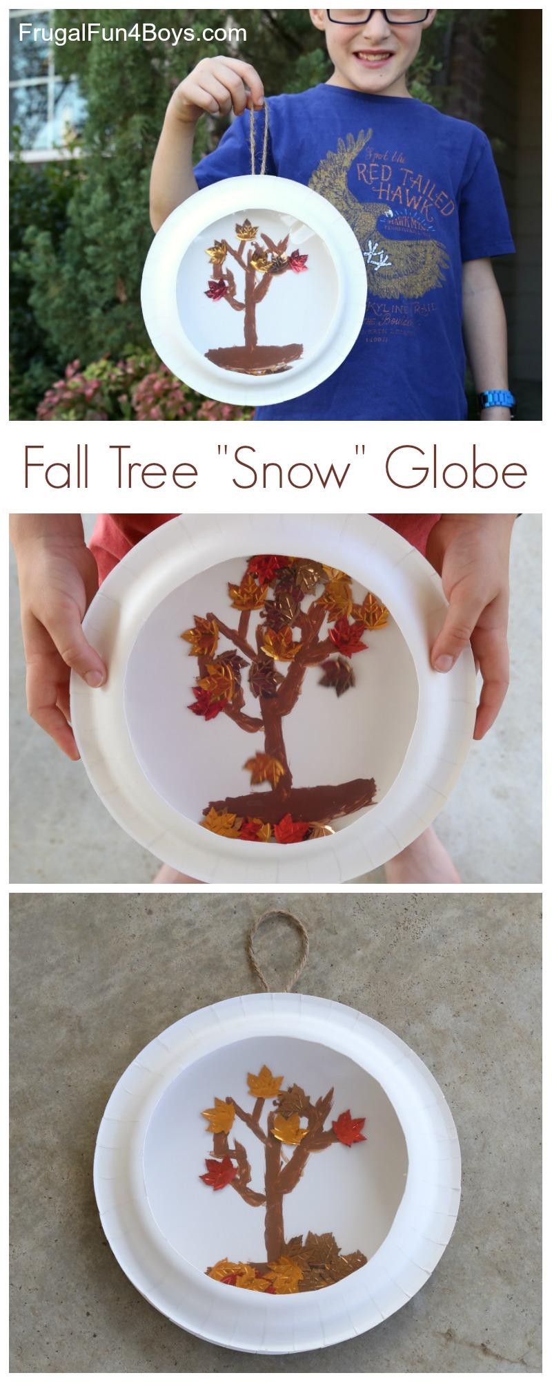 """Paper Plate Fall Tree """"Snow"""" Globes - Fun fall kids craft!"""