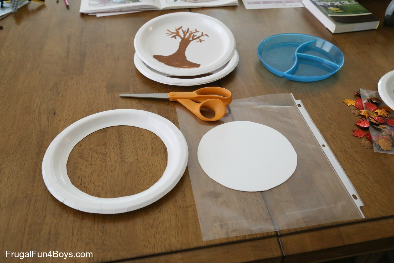 Paper Plate Fall Tree \ Snow\  Globe & Fall Craft for Kids: Paper Plate Fall Tree \u201cSnow\u201d Globe