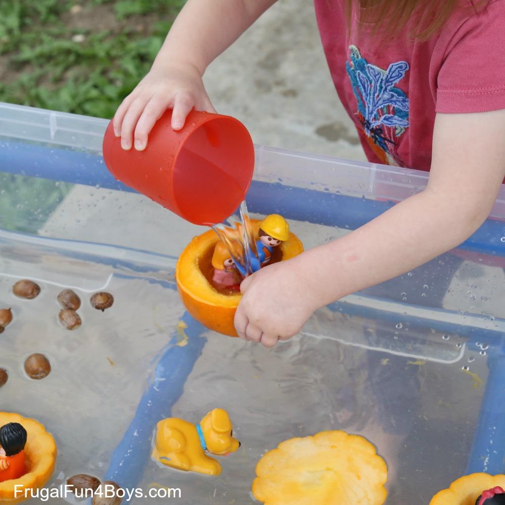 Pumpkin Boats Fall Sensory Play