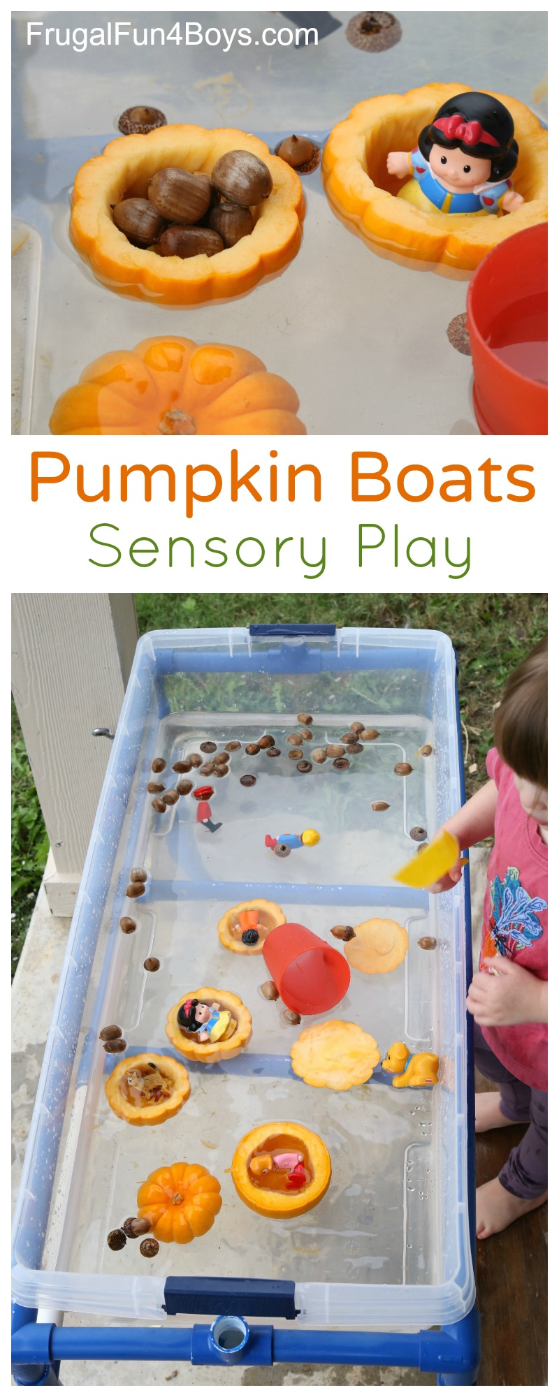Pumpkin Boats Fall Sensory Play