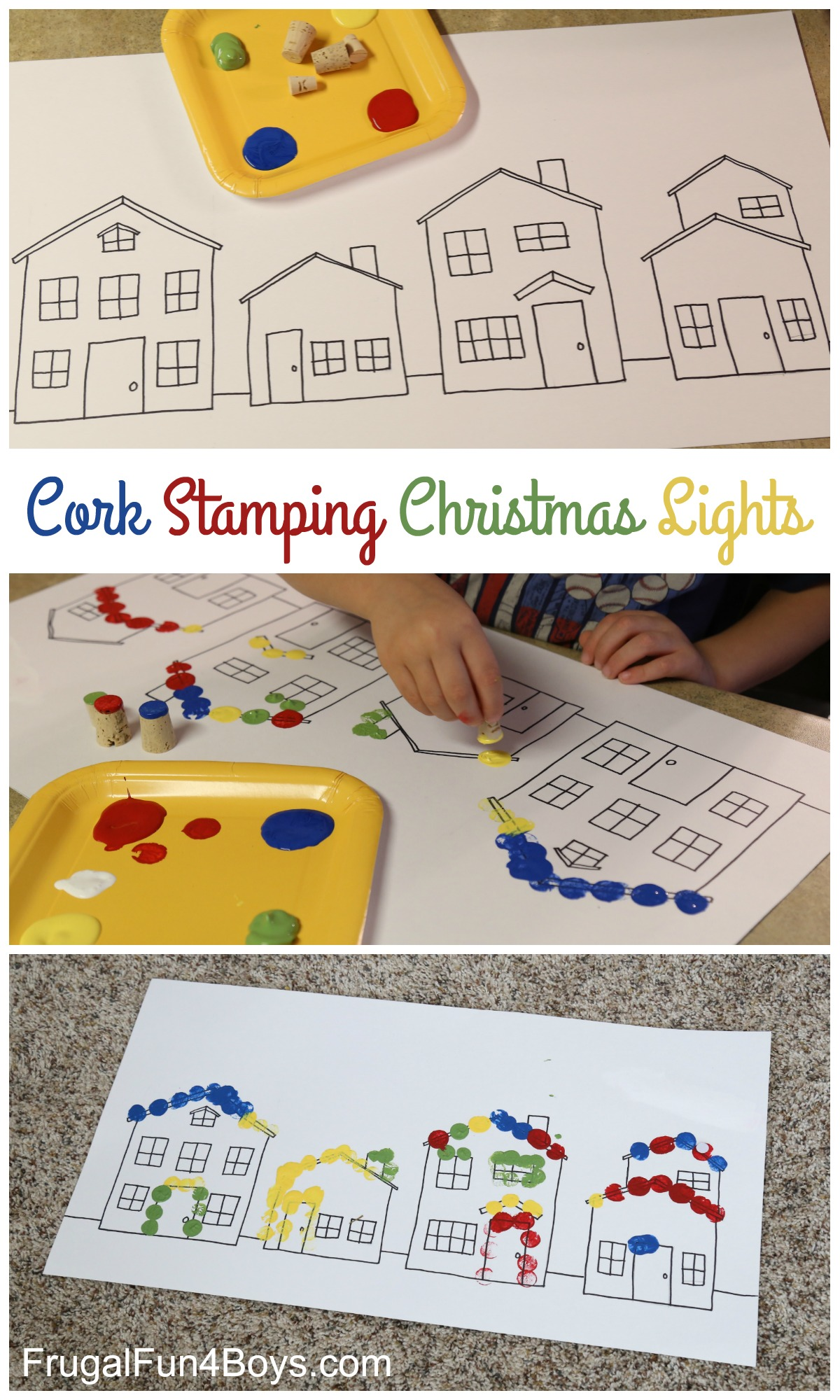 Painting Christmas Lights with Cork Stamps
