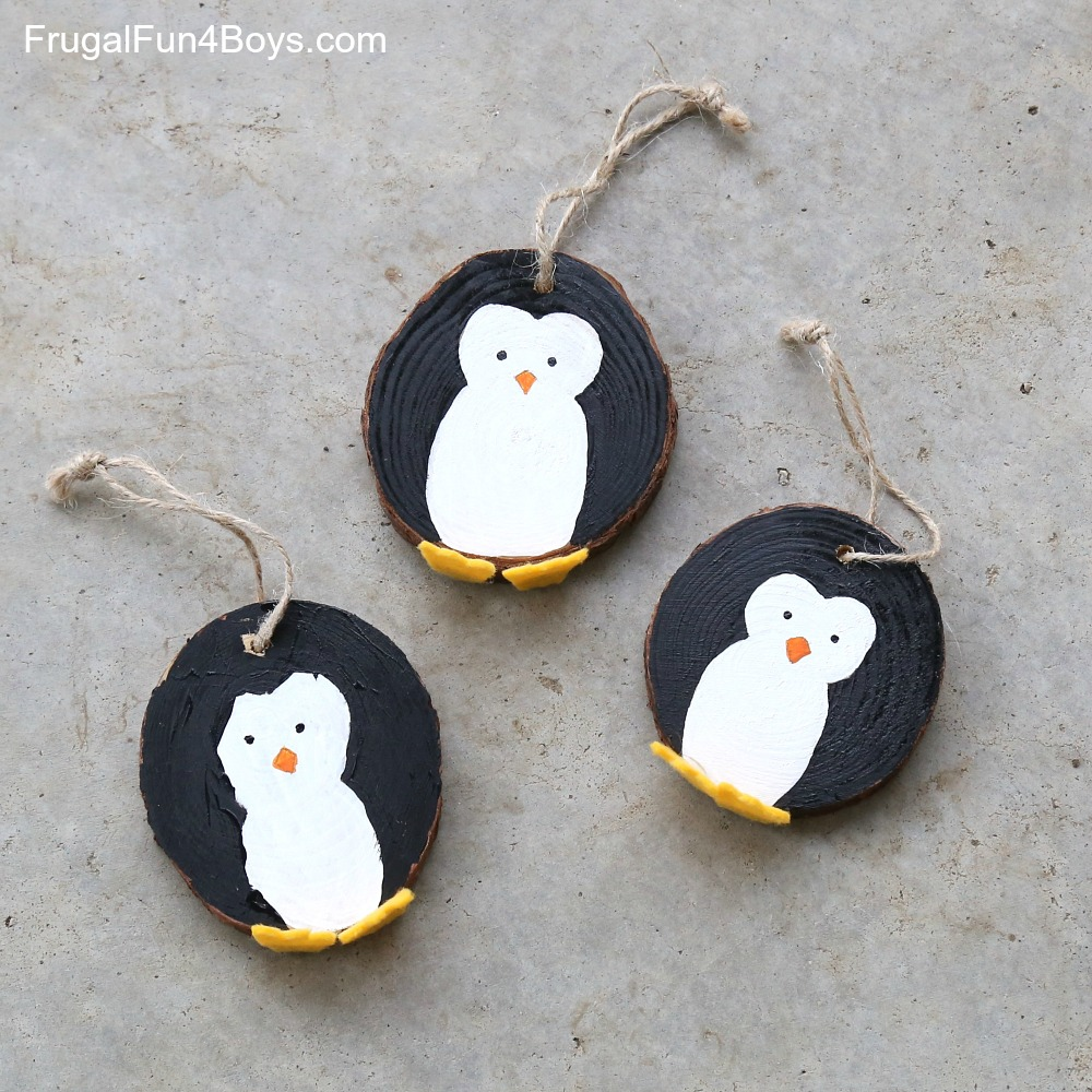 Wood Slice Penguin Christmas Ornaments