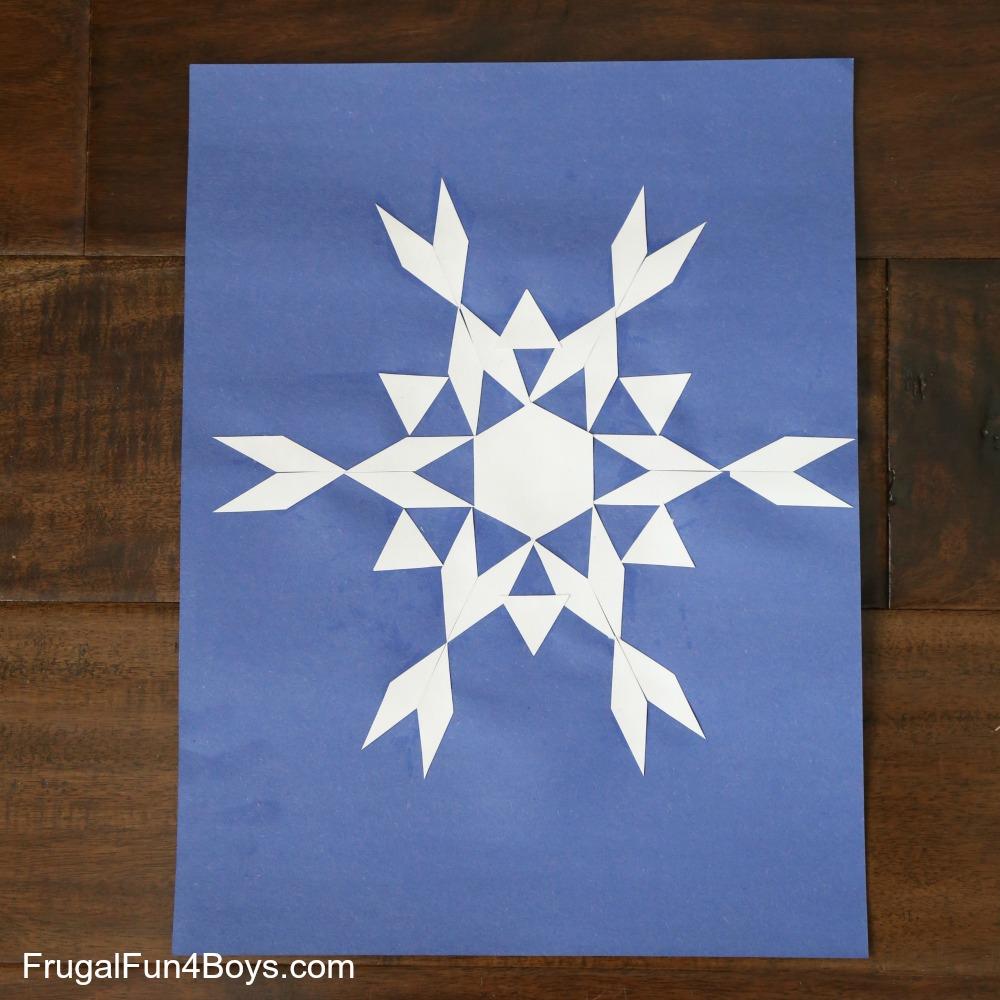 Math Art: Pattern Block Snowflakes