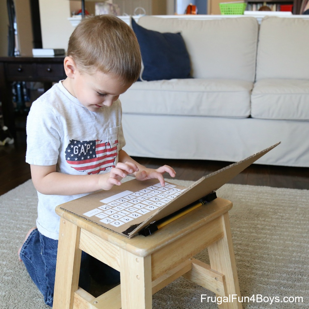 Make a Cardboard Laptop - Play and Learn Literacy Skills