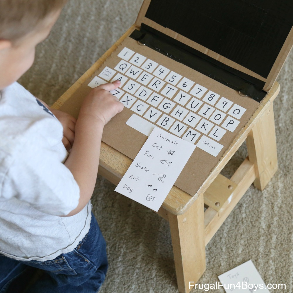 Cardboard Laptop - Play and Literacy Idea!