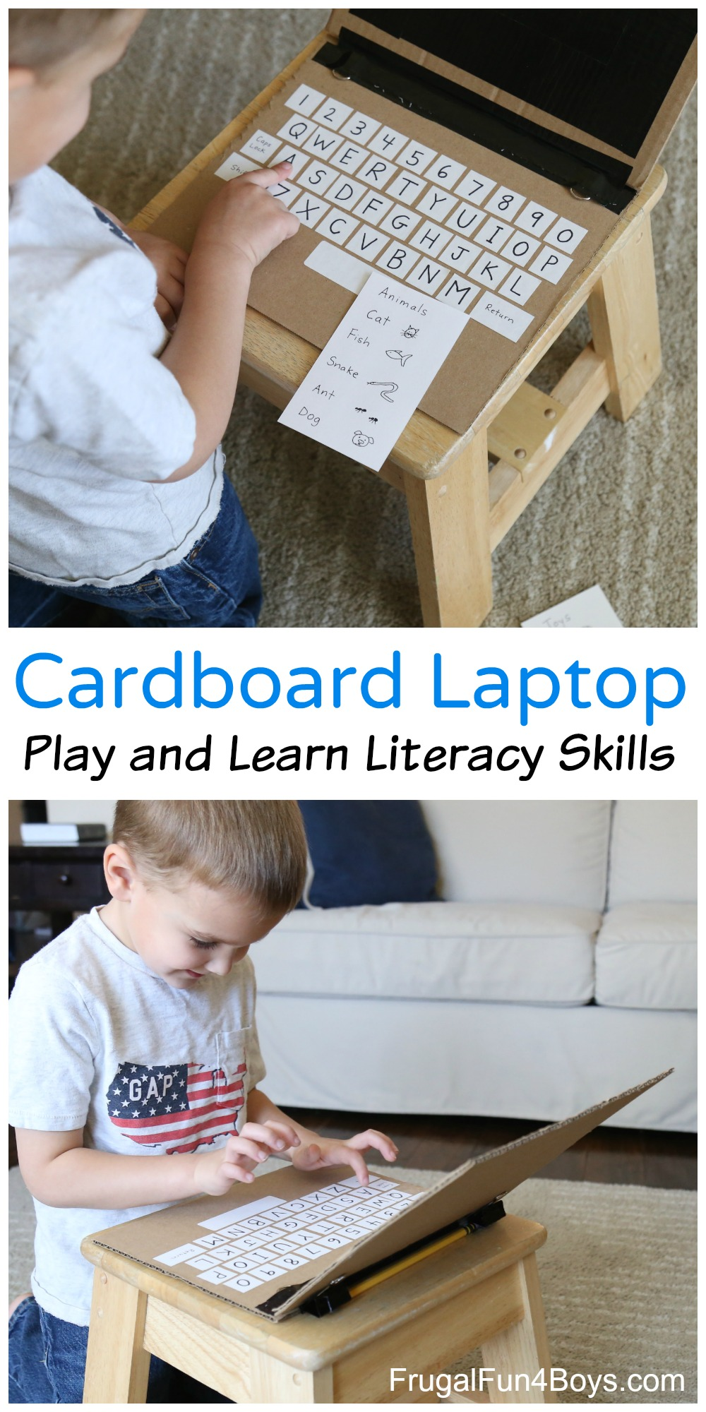 Cardboard Laptop - Play and Learn Literacy Skills!