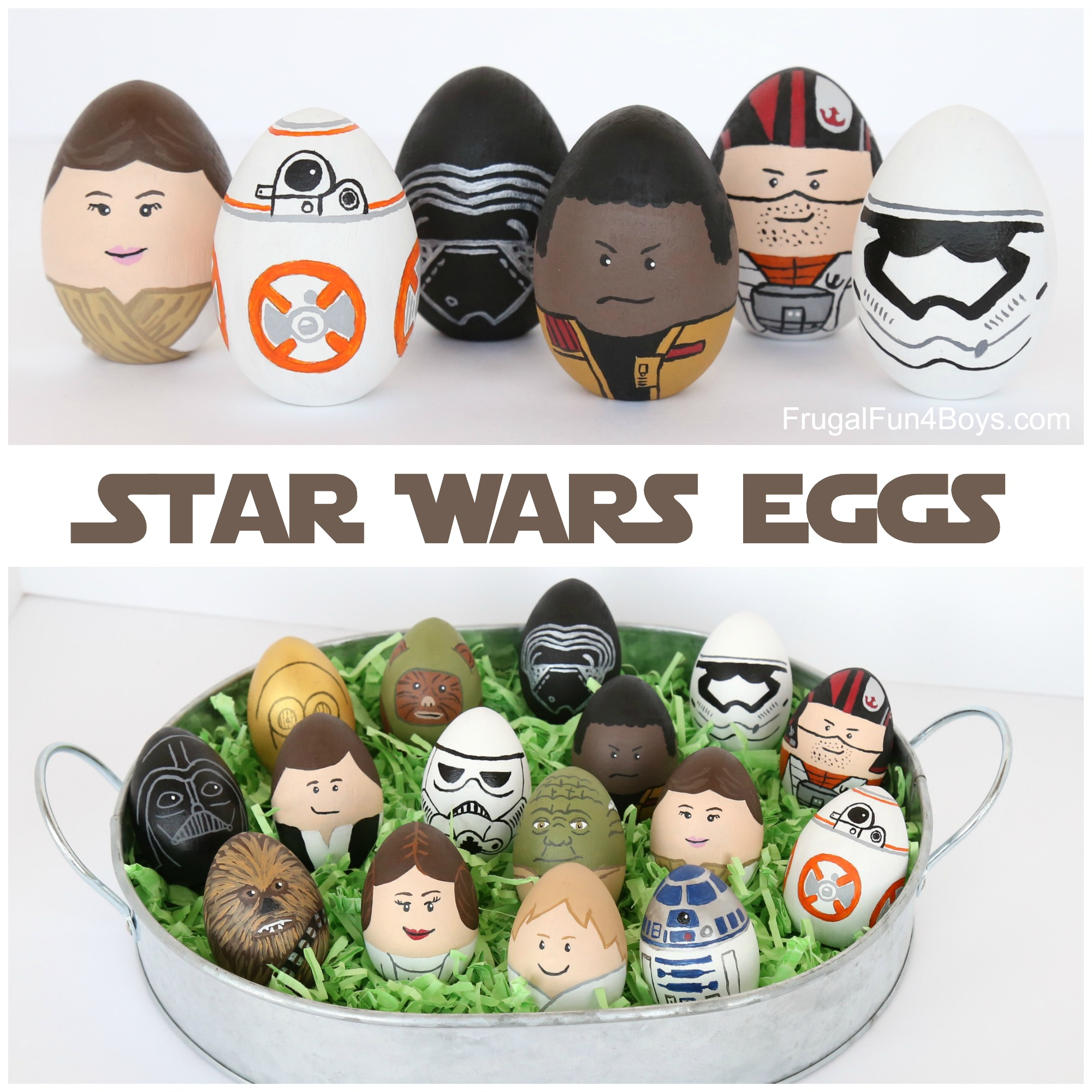 Star Wars Painted Easter Eggs - The Force Awakens, BB8, Rey, Finn, Poe, etc.