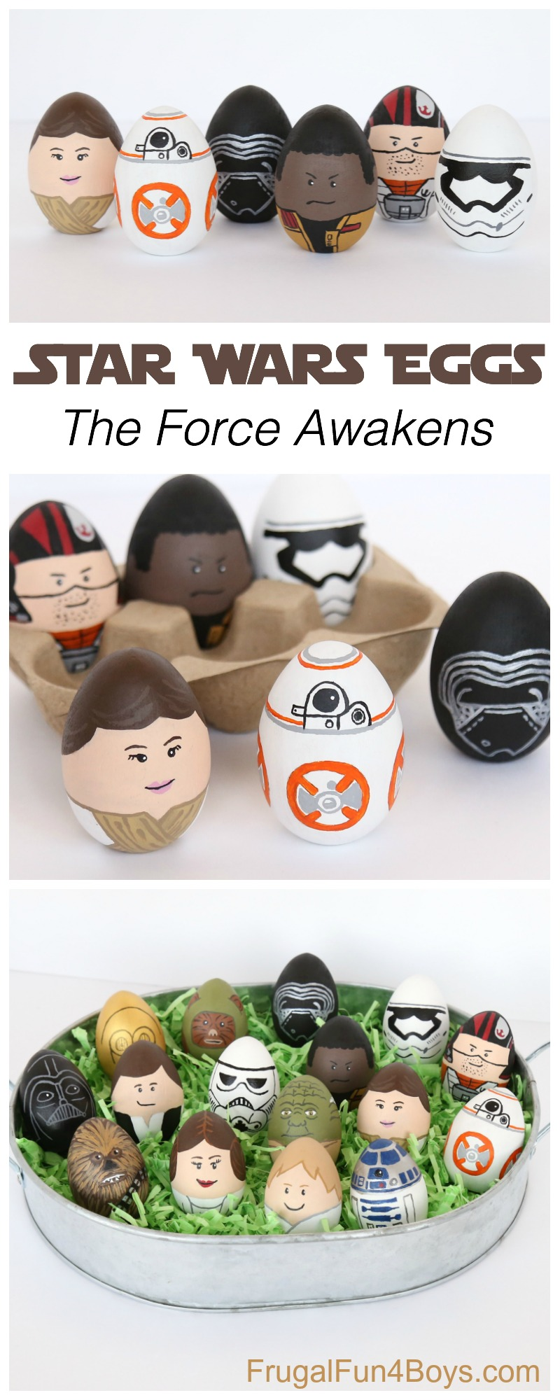 Star Wars Painted Eggs - The Force Awakens! Rey, BB8, Finn, Kylo Ren, Poe, Stormtrooper