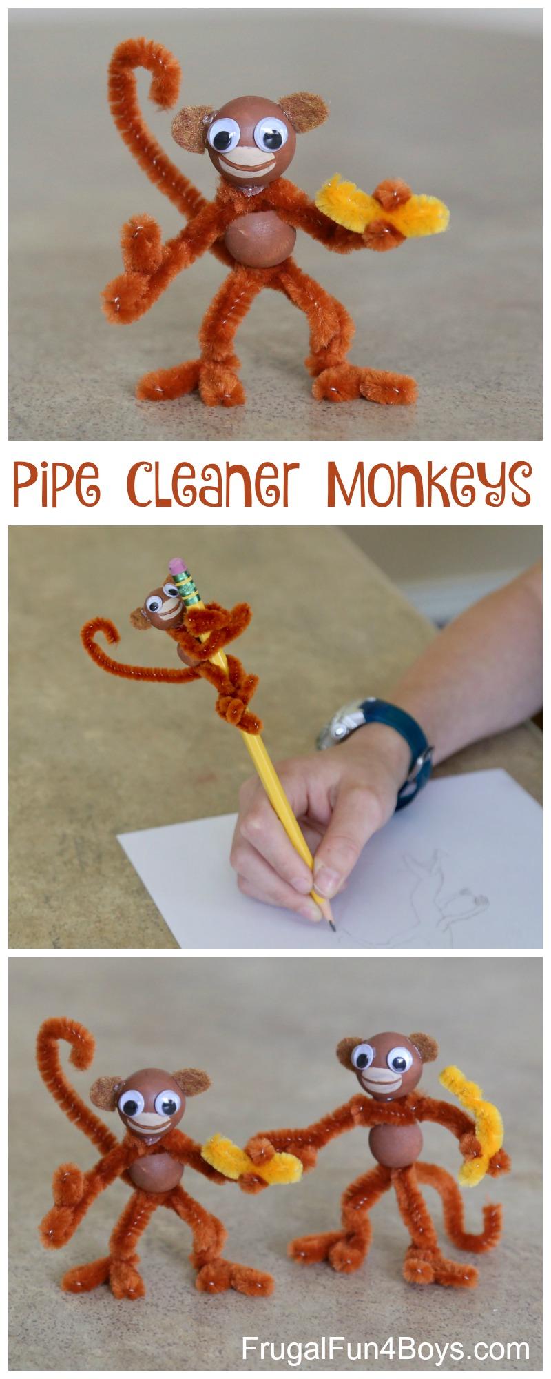 Kids Craft Pipe Cleaner Monkeys on Preschool Chameleon Art