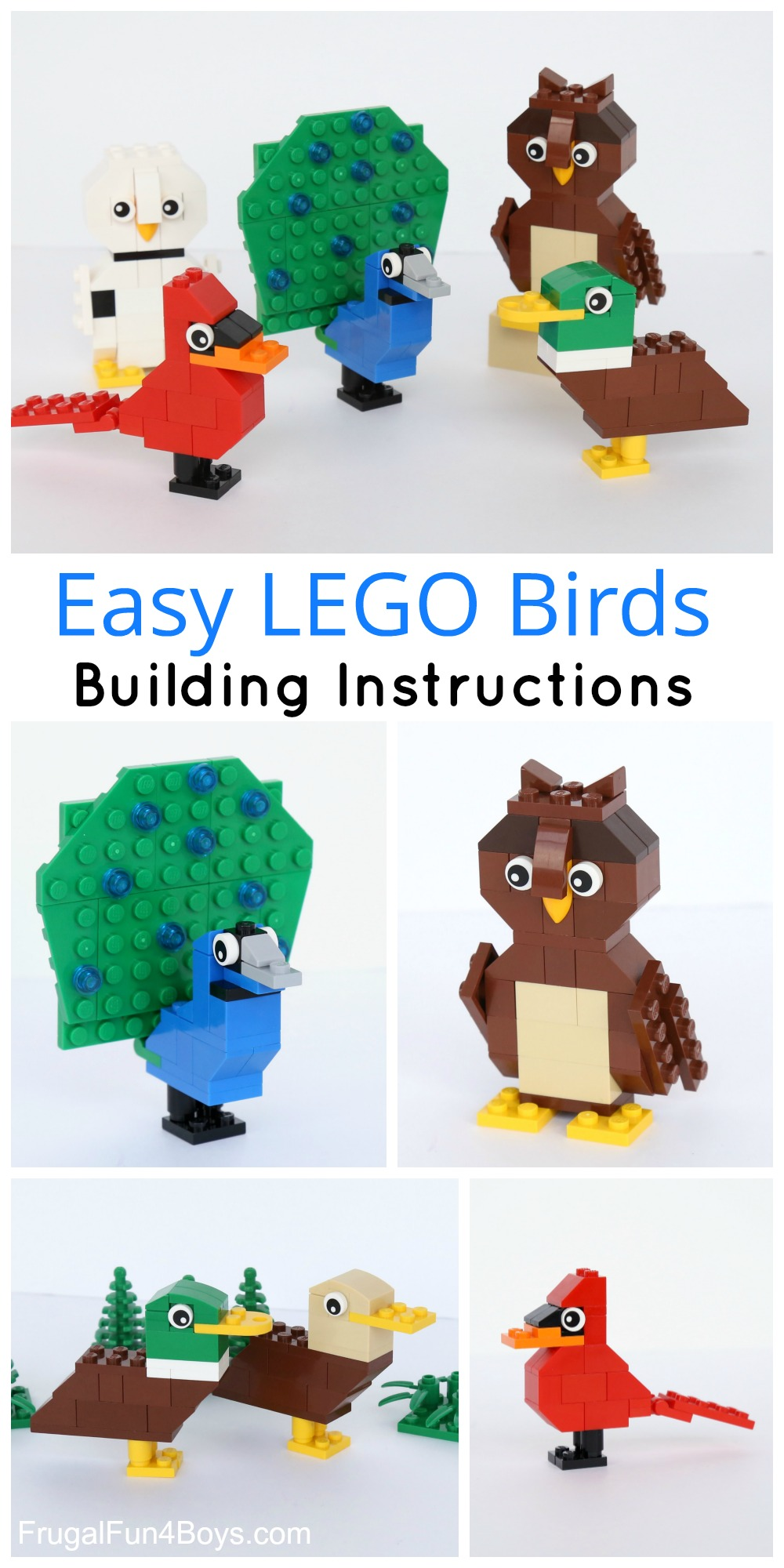 Simple brick birds building instructions here are some fun birds to build with lego bricks this is a great building project for beginners weve got designs for a couple of owls some ducks solutioingenieria Images