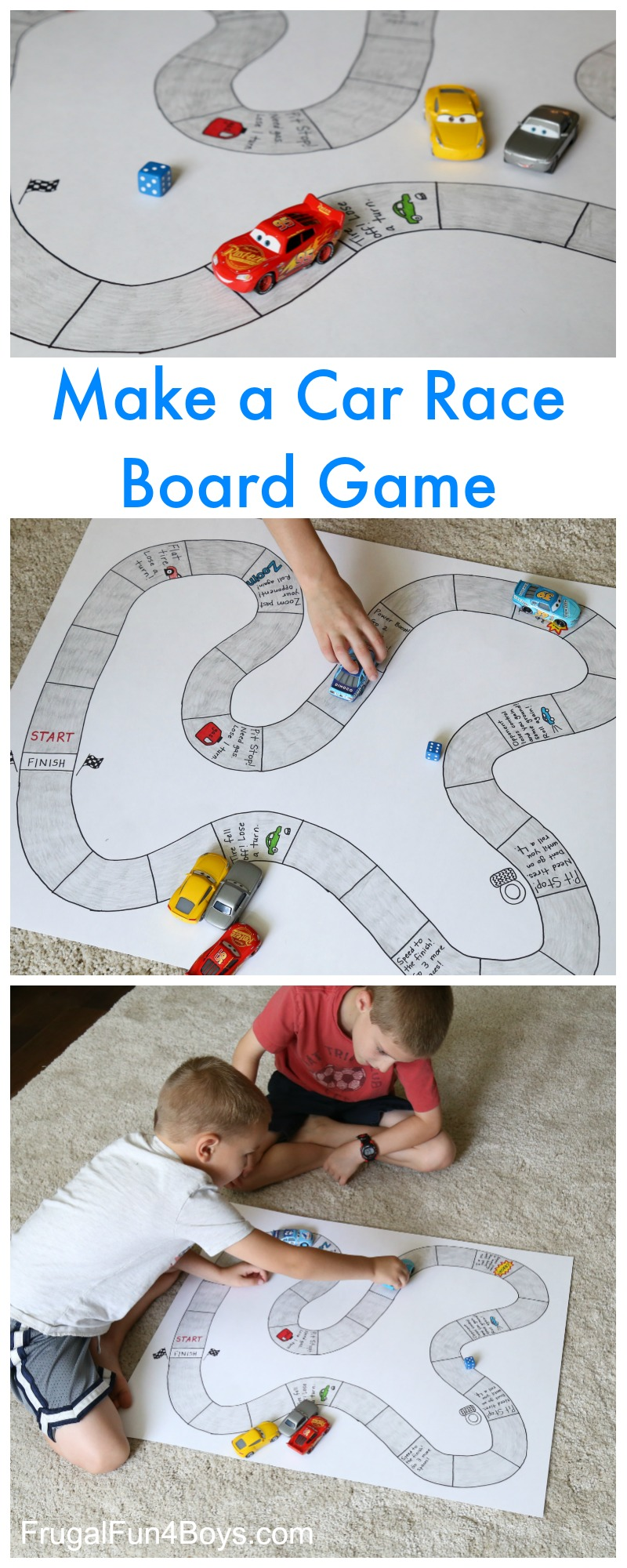 Make Your Own Car Race Board Game Frugal Fun For Boys And Girls
