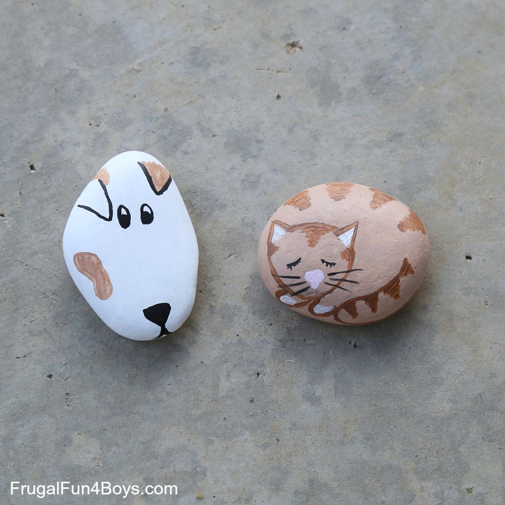 For The Dog You Could Easily Have Kids Paint Rock And Then Use A Sharpie Eyes Ears Nose Much Easier To Control Than