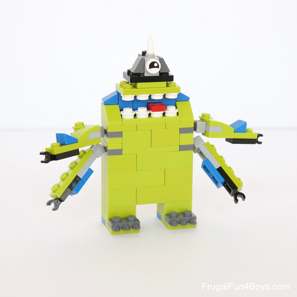 the monster below was created by my 10 year old the extra arms give it a silly monsters inc type of look - Lego Monstre
