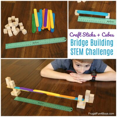 Bridge Building STEM Challenge with Craft Sticks and Wooden Cubes