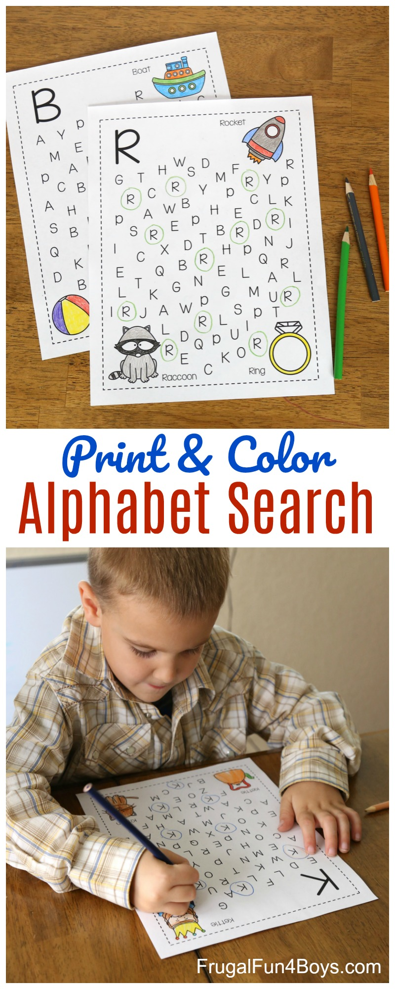 printable alphabet letter search and find pages frugal fun for
